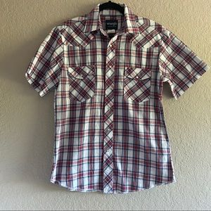 Wrangler Retro Red and Blue Pearl snap Button Up